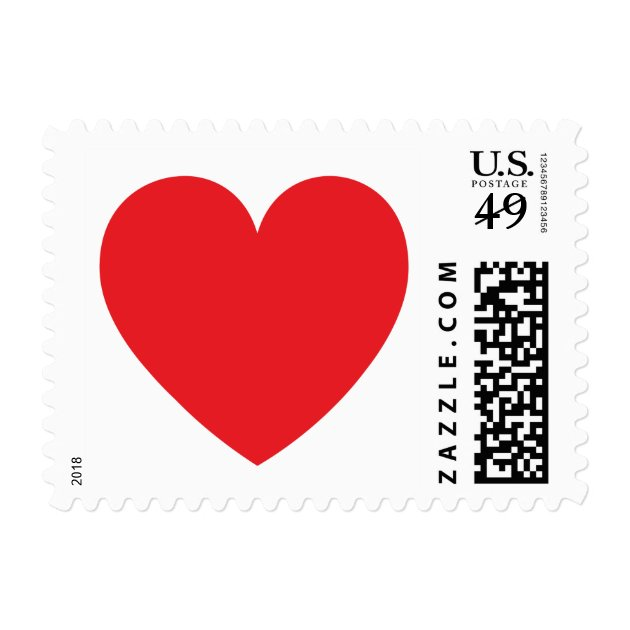Red Heart Love Or Valentines Day Postage Stamp Zazzle