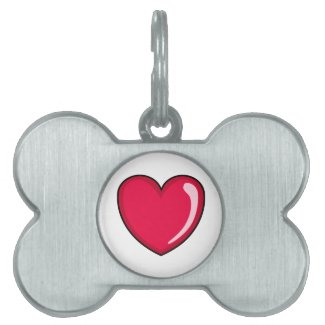 Red Heart Pet Name Tag