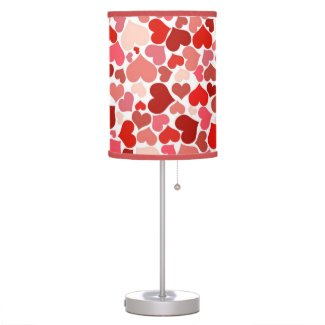 Red hearts pattern desk lamps