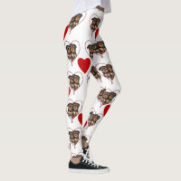 Red Hearts Yorkshire terriers fashion art leggings