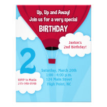 Red Hot Air Balloon Kids Birthday Invitation