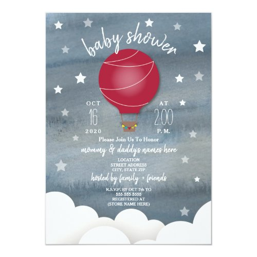 Red Hot Air Balloon + Stars Neutral Baby Shower Card