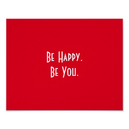 Red Inspirational Be You Be Happy Typography Poster