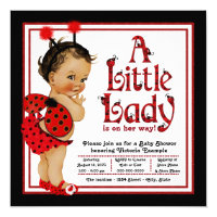 Red Ladybug Ethnic Girl Ladybug Baby Shower Card