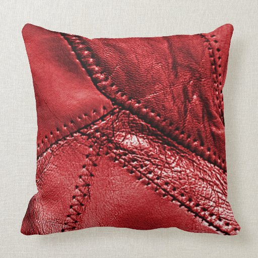Red leather look throw pillow pillow  Zazzle