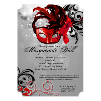 Red Masquerade Ball Mask Costume Part Card