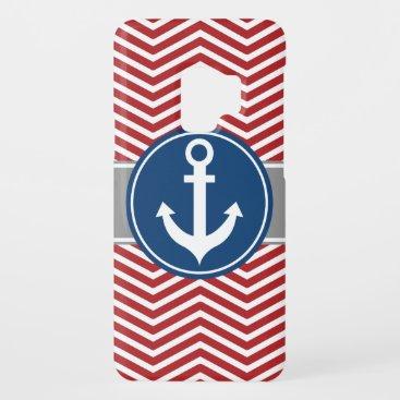 Red Nautical Anchor Chevron Case-Mate Samsung Galaxy S9 Case