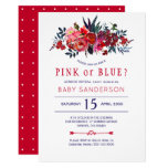 Red navy rustic floral baby gender reveal party invitation
