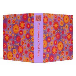 Red Orange & Purple Hippy Flower Pattern binder