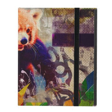 Red Panda Abstract vintage pop art composition iPad Case