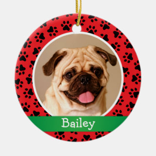 Red Paw Prints Monogram | Pet Dog Photo Holiday Ceramic Ornament