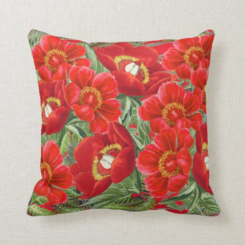 Red Peony Flowers Floral Throw Pillow