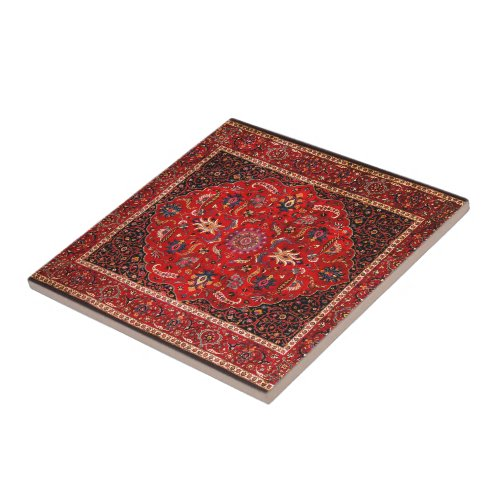 Red Persian Rug from Mashhad Tile