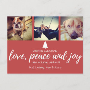 Red Photo Love Peace and Joy Christmas Postcard