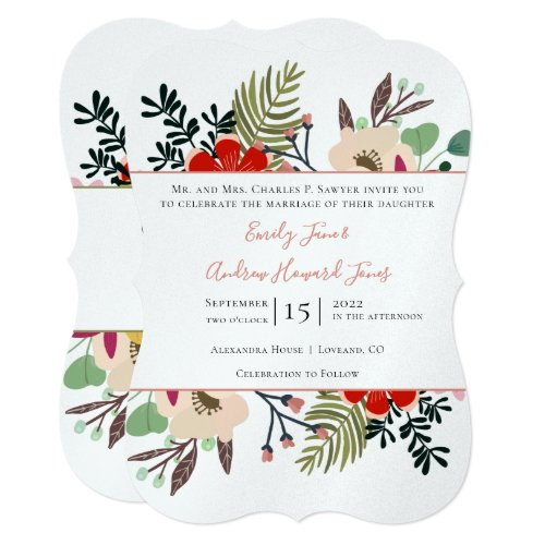 Red Pink Blue Green Floral Ferns Typography Invitation