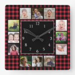 Red Plaid Create Your Own 12 Photo Collage Square Wall Clock