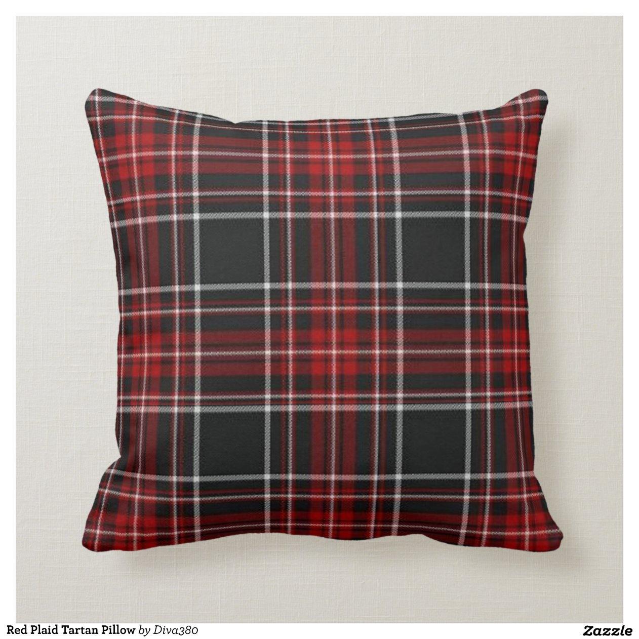 Red Plaid Tartan Pillow-r1e76cb01b18140a19594b43e3e420da7