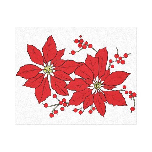 Red Poinsettia Christmas Pattern Canvas Print