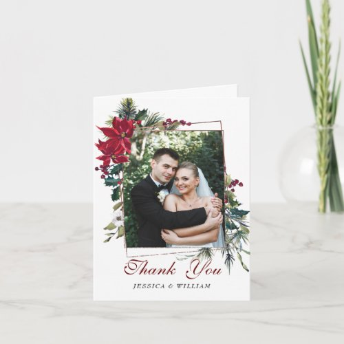 Red Poinsettia Floral PHOTO Wedding Thank You Card