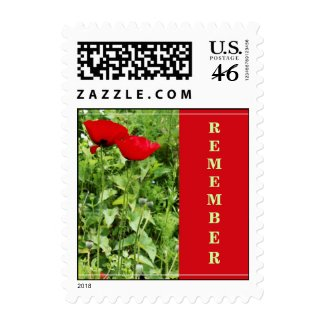 Red poppies - Postage stamp