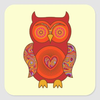 Red Psychedelic Owl sticker