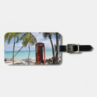 Red public Telephone Booth on Antigua Tags For Luggage