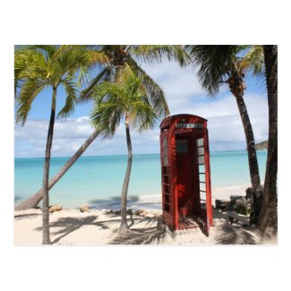 Red public Telephone Booth on Antigua Post Card