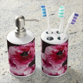 Red Ranunculus Toothbrush Holder
