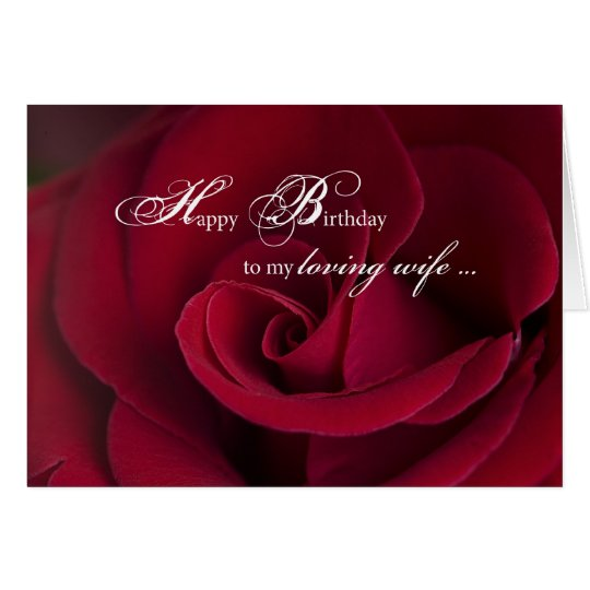 Red Roses Birthday Card For Loving Wife Zazzle Com