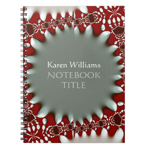 Red Silver Abstract Batik Notebook