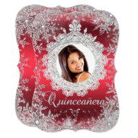 Red Silver Tiara Snowflake Sparkle Quinceanera Card