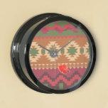 red southwest pattern -  western abstract art aquarium clock