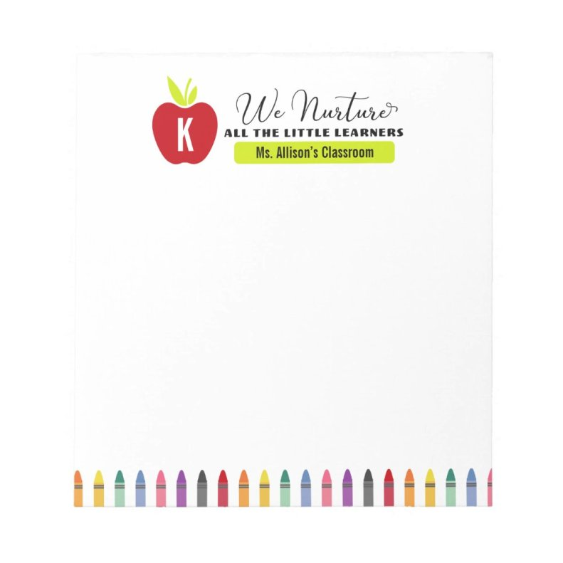 Red Teacher's Apple and Crayons Elementary Class Notepad