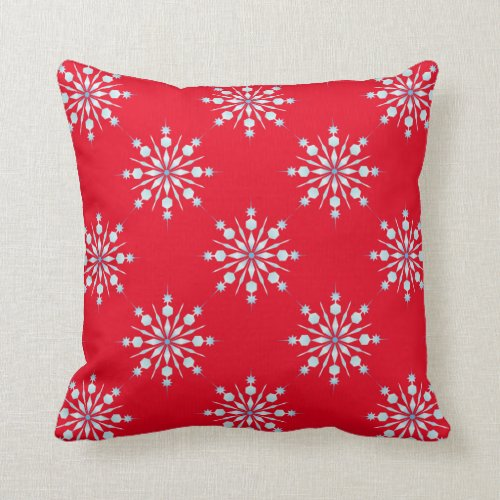Red Throw Pillow/Snowflakes Throw Pillow