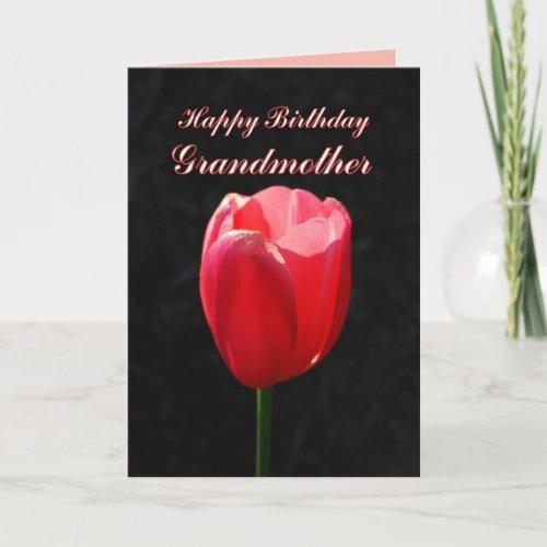 Red Tulip Happy Birthday Grandmother card