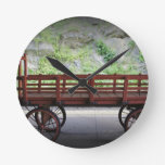 Red Wagon Round Clocks