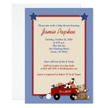 Red Wagon Teddy Bear Sports Boy Baby Shower Invitation