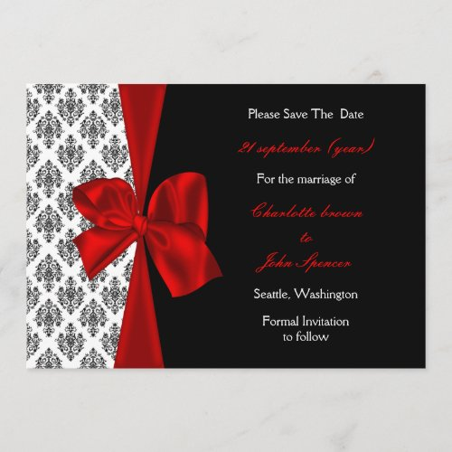 red wedding save the date announcement