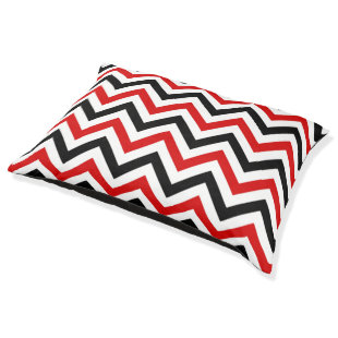 Red, White, Black Large Chevron ZigZag Pattern Large Dog Bed