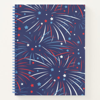 Red White Blue Fireworks Stars Notebook