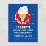 ❤️ Red White Blue Ice Cream Pool Party Kids Summer Invitation Postcard