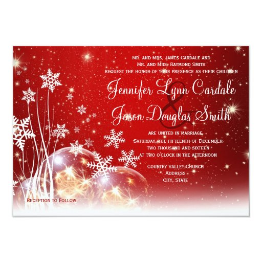 Red White Christmas Holiday Wedding Invitations Zazzle