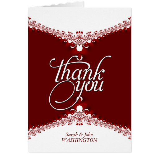 Red White Elegant Lace Thank You Cards