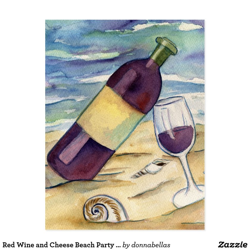 Red Wine and Cheese Beach Party Postcards