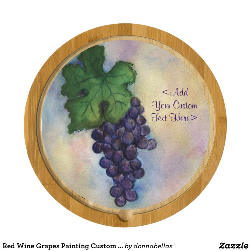 Red Wine Grapes Painting Custom Cheese Board