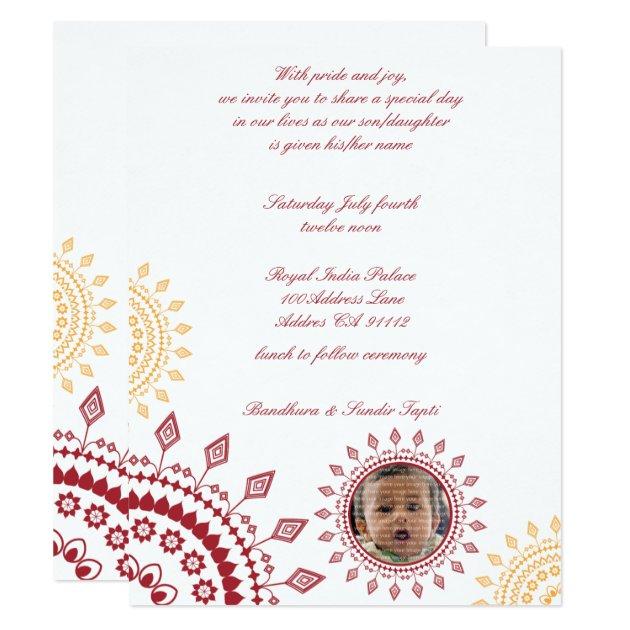 Red  Yellow Namkaran Baby Naming Invitations  Zazzlecom