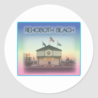 Rehoboth Beach Delaware - Rehoboth Ave Scene Round Stickers