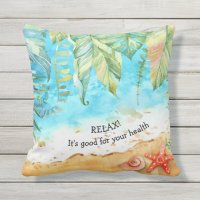 Relax Tropical Beach Outdoor Decor Throw Pillow | Zazzle.com