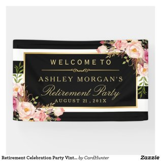 Retirement Celebration Party Vintage Floral Stripe Banner
