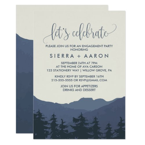 Retreat to the Mountains Let&#39&#x3B;s Celebrate Invitation
